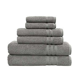 Linum Home Textiles Denzi 6-Piece Turkish Cotton Bath Towel Set in Dark Grey