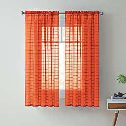 VCNY Home Lisa 63-Inch Sheer Rod Pocket Window Curtain Panel in Orange