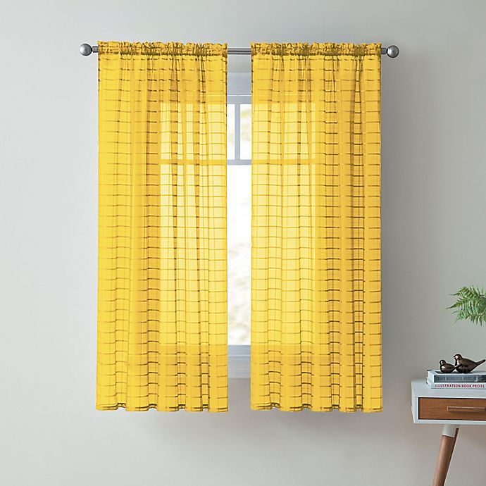 Alternate image 1 for VCNY Home Lisa 63-Inch Sheer Rod Pocket Window Curtain Panel in Yellow