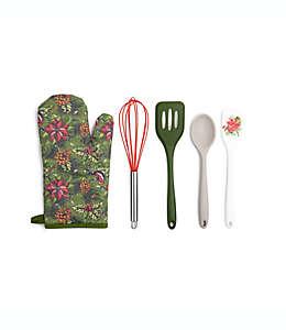 Set de utensilios de cocina Core Kitchen™ con diseño navideño en verde, 5 piezas