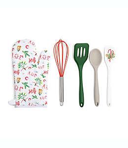 Set de utensilios de repostería Core Kitchen™ con diseño navideño en blanco, 5 piezas