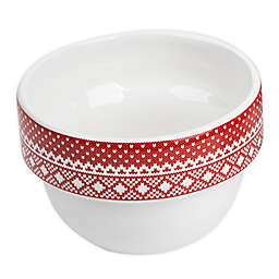Core Kitchen Ceramic Holiday 5 oz. Mini Prep Bowls (Set of 4) in White/Red