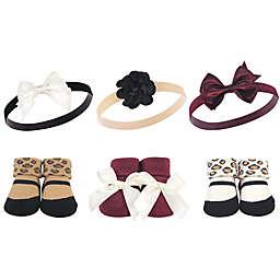 Hudson Baby® 6-Piece Leopard Headband and Socks Gift Set in Burgundy
