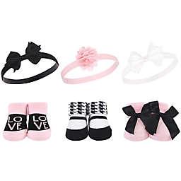 Hudson Baby® 6-Piece Love Headband and Socks Gift Set in Pink/Black