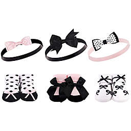 Hudson Baby® Size 0-9M 6-Piece Bow Headband and Socks Set in Black/Pink