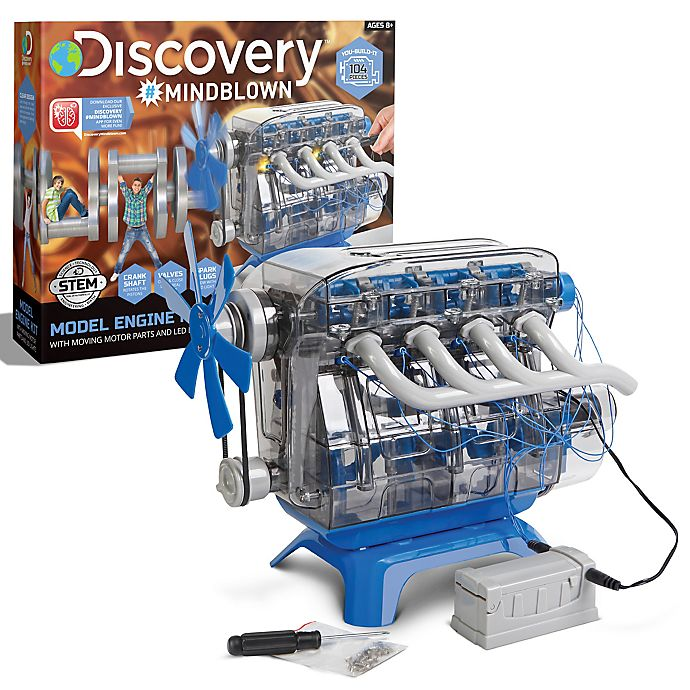 Alternate image 1 for Discovery #Mindblown Toy Kids Model Engine Kit in Blue/Black
