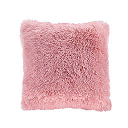 CosmoLiving Cleo Ombre Shaggy Faux Fur Square Throw Pillow in Blush