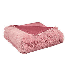 CosmoLiving Cleo Ombre Shaggy Faux Fur Throw Blanket in Blush