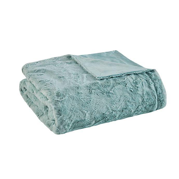 Alternate image 1 for Madison Park Zuri Oversized Faux Fur Throw Blanket in Aqua