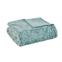 Madison Park® Zuri Oversized Faux Fur Throw Blanket in Aqua