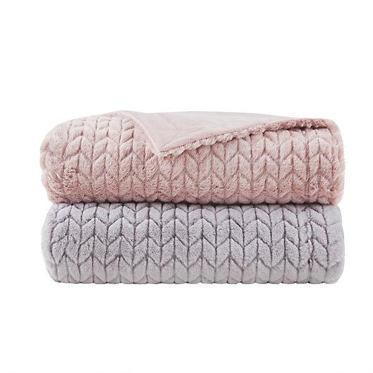Alternate image 1 for Madison Park Olivia Carved Serengeti Faux Fur Throw Blanket