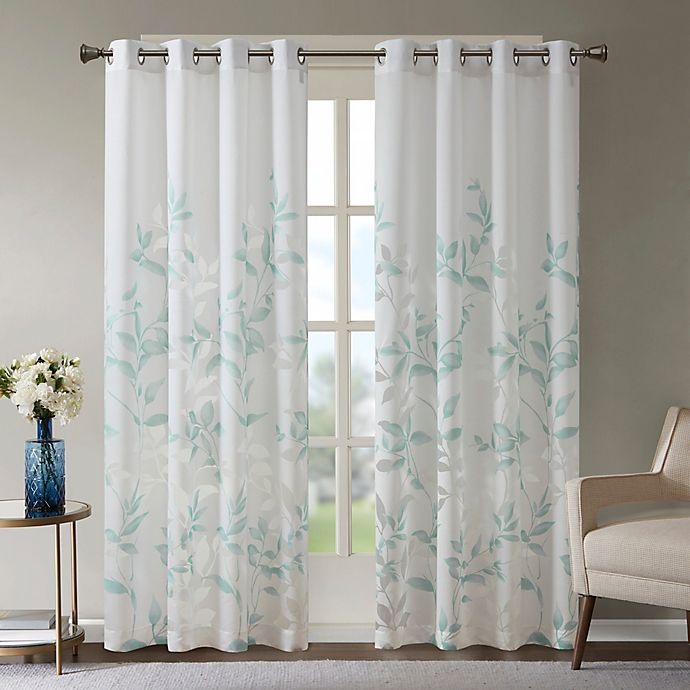 Alternate image 1 for Madison Park Cecily Burnout Printed Window Panel in Aqua
