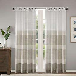 Madison Park® Hayden Striped Grommet Sheer Window Curtain Panel in Neutral (Single)