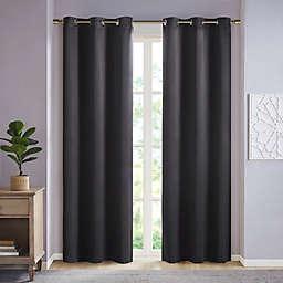 SunSmart Taren 84-Inch Solid Blackout Triple Weave Grommet Curtain Panels in Black (Set of 2)