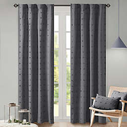 Urban Habitat Brooklyn 95-Inch Jacquard Pom Pom Rod Pocket Curtain Panel in Charcoal (Single)