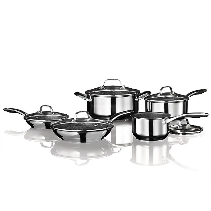 Alternate image 1 for Starfrit the Rock Nonstick Stainless Steel 10-Piece Cookware Set