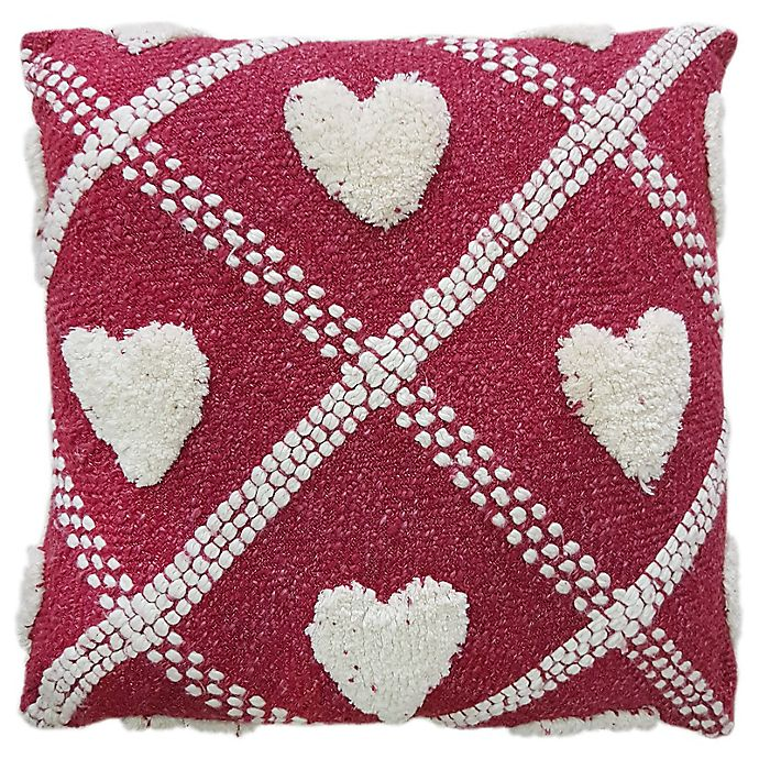 Alternate image 1 for Tufted Heart 20-Inch Square Throw Pillow in Red/Cream