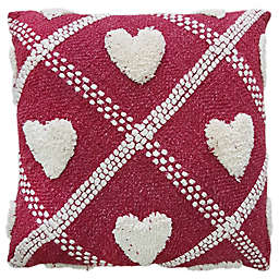 Tufted Heart 20-Inch Square Throw Pillow in Red/Cream