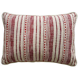 Striped 14-Inch x 20-Inch Oblong Lumbar Pillow in White/Red