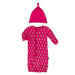 KicKee Pants® Size 0-3M Prickly Pear Seahorse Layette Gown Converter in Pink