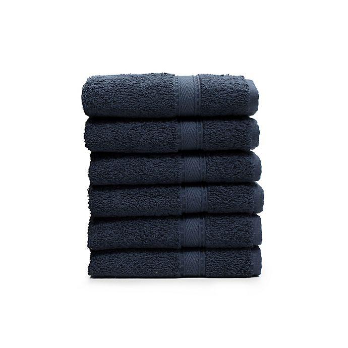 Alternate image 1 for Linum Home Textiles Sinemis Washcloths in Navy (Set of 6)