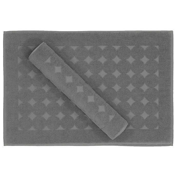 Alternate image 1 for Linum Home Textiles Sinemis Circle Design Bath Mat in Dark Grey (Set of 2)