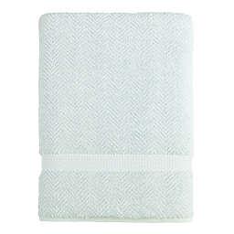 Linum Home Textiles Herringbone Bath Sheet in Aqua Blue