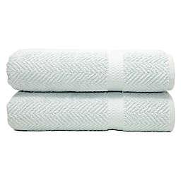 Linum Home Textiles Herringbone Bath Towels in Aqua Blue (Set of 2)