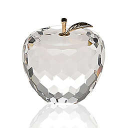 Badash 2.5-Inch Faceted Crystal Apple with Gold Leaf Paperweight