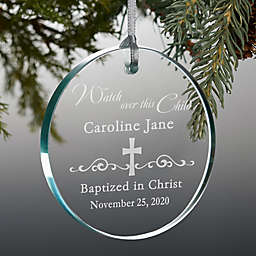 Protect This Child Personalized Glass Christmas Ornament