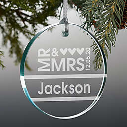 Mr. and Mrs. 3-Inch Personalized Premium Glass Christmas Ornament