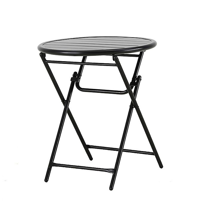 Alternate image 1 for Bee & Willow™ Home Elmridge Metal Folding Bistro Table in Black