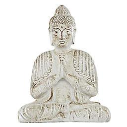 Ridge Road Décor Praying Buddha Statue in Cream/Bronze