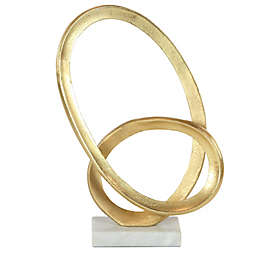 Ridge Road Décor Gold Looped Abstract Sculpture on Marble Base
