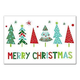 Merry Christmas Trees 12x18 Canvas Wall Art