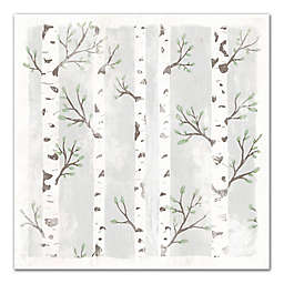 Birch Trees With Leaves 20x20 Canvas Wall Art