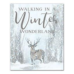 Deer Winter Wonderland 16x20 Canvas Wall Art
