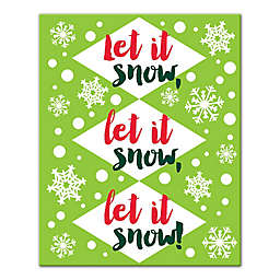 Let it Snow Lime Green 8x10 Canvas Wall Art