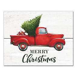 Merry Christmas Red Truck 14x11 Canvas Wall Art