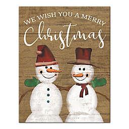 Merry Christmas Snowmen 11x14 Canvas Wall Art