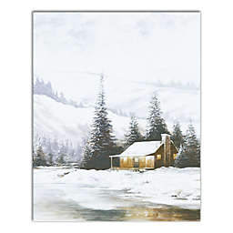 Snowy Wooded Cabin 16x20 Canvas Wall Art