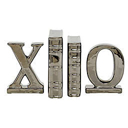 "Ridge Road Decor ""XO"" 4-Piece Ceramic Bookends in Glossy Silver"