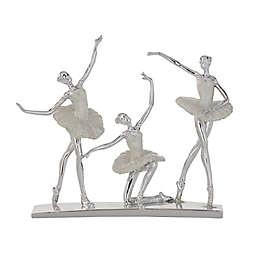 Ridge Road Décor Ballet Dancers Sculpture in Silver/White