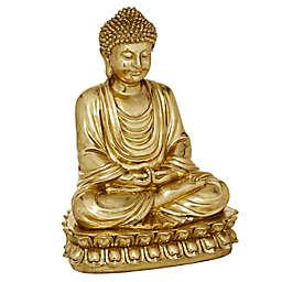 Ridge Road Decor Sitting Buddha Sculpture in Gold