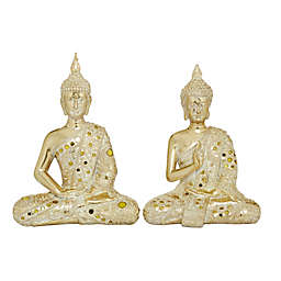 Ridge Road Décor Sitting Buddha Sculptures in Gold (Set of 2)