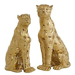 Ridge Road Décor Leopard Figurines in Gold (Set of 2)