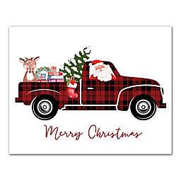 Plaid Christmas Truck 14x11 Canvas Wall Art