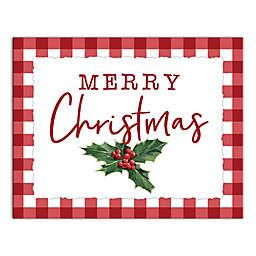 Merry Christmas Poinsetta 14x11 Canvas Wall Art