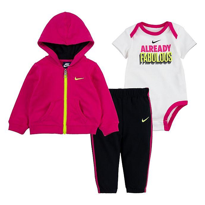 Alternate image 1 for Nike® 3-Piece Bodysuit, Pant and Jacket Set in Pink/Black