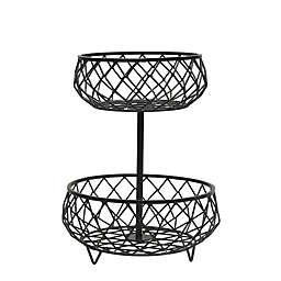 Scott Living Catalyst Iron 12-Inch 2-Tier Basket in Black